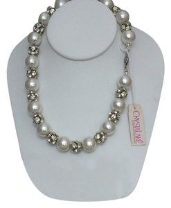 Crystalare Vintage Crystalare Pearl and Rhinestone Necklace