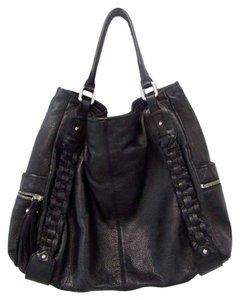 Kenneth Cole Large Braided Leather Tassel Tote in Black