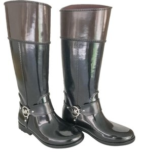 Michael Kors Rain Black/Chocolate Brown Boots