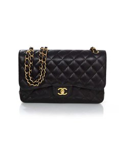 Chanel Caviar Double Flap Cross Body Bag