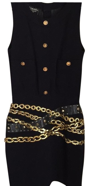 Chanel Classic Embroidered Black Jersey Short Casual Dress