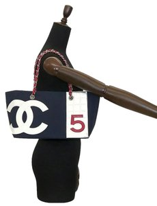 Chanel Tote in Red Blue White Silver