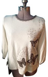 Alfred Dunner Butterfly Beads Cotyon Polyester 3/4 Sleeves Top