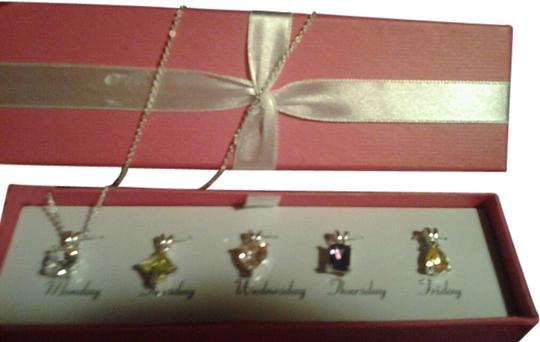 "Avon Multi-Stone CZ Interchangeable Necklace 5 Stones Silver 18"" Chain Necklace Set"