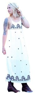 White with blue accents Maxi Dress by RAGA Nwt Maxi Embroidered