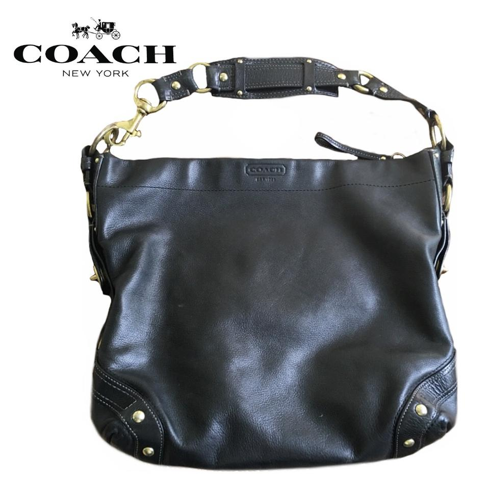Coach Carly 10616 Leather Brass Tone Hardware Xl Shoulder Black ... d0b35129c0862