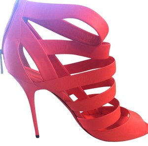 Jimmy Choo Strappy Pop Neon Coral Platforms