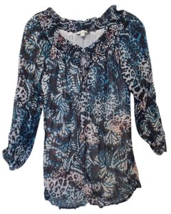 Alberto Makali Animal Print Small Like New Butterfly Oversized Top Black, teal, royal blue, white and orange