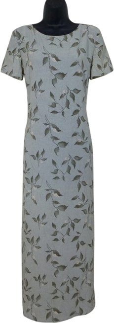 Green Maxi Dress by Norton McNaughton Leaf-print Crinkle Fabric