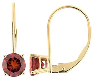Other JewelryNest 14k Yellow Gold Round Garnet Dangle Drop Earring