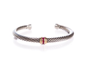 David Yurman Sterling Silver Tourmaline Cable Bracelet