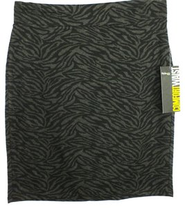 Style & Co Plus Size Fashions Animal Print Knit Mini Skirt Black & Gray