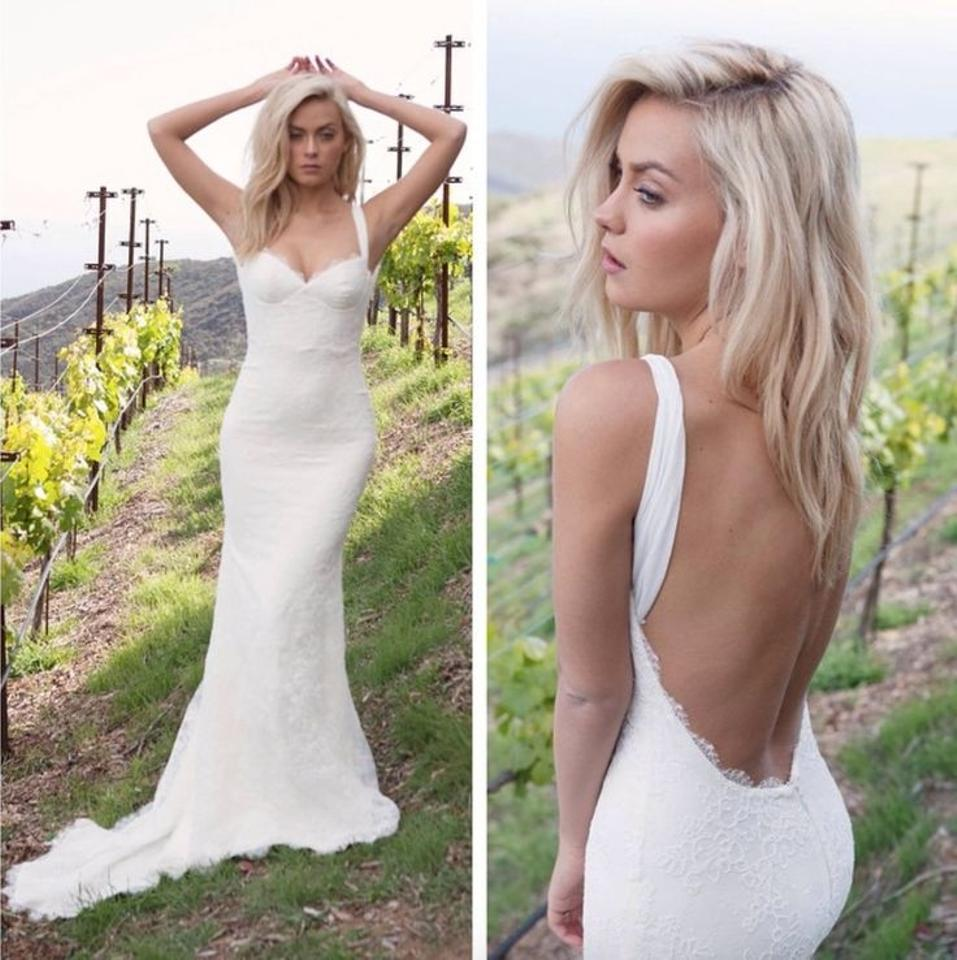Katie May Off White With Lave Overlay Corded Sienna Modern Wedding Dress Size 6