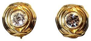 Nolan Miller Nolan Miller Crystal Clip On Gold Earrings