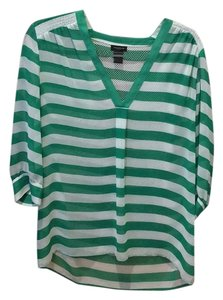 Ann Taylor Top Green and whistle stripes