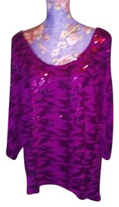 Eyeshadow Sequin Night Out Date Night Evening Cut-out Top Hot Pink