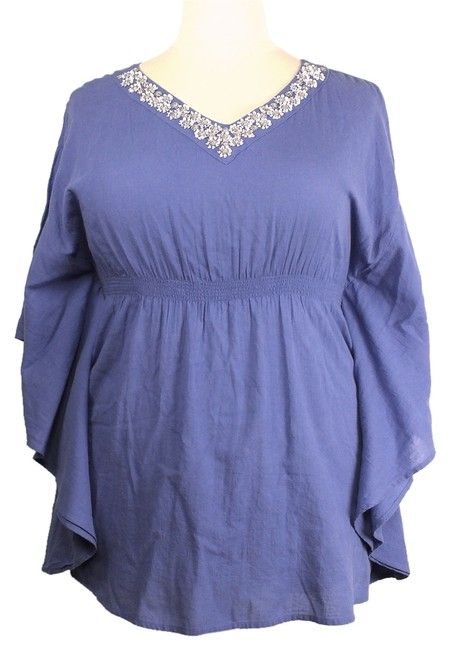 Style & Co Plus Size Fashions Rhinestones Butterfly Seams Top Periwinkle