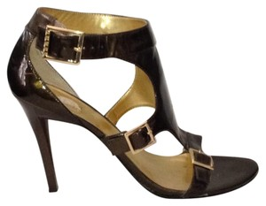 Guess By Marciano Leather Buckles Open Toe Bronze Metallic Sandals