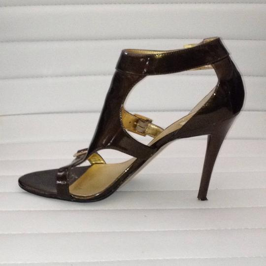 Guess By Marciano Leather Buckles Open Toe Bronze Metallic Sandals Image 1