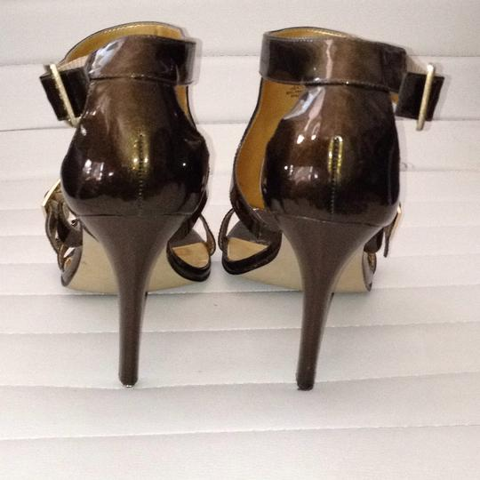 Guess By Marciano Leather Buckles Open Toe Bronze Metallic Sandals Image 3