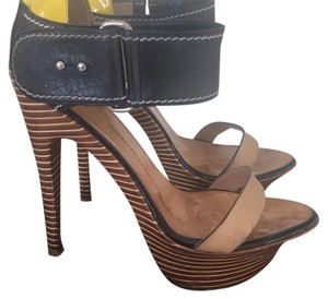 Giuseppe Zanotti Black Yellow and Tan Platforms