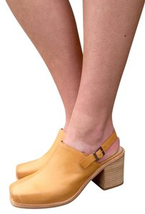 Intentionally Blank Mule Leather Chunky Heel Tan Mules