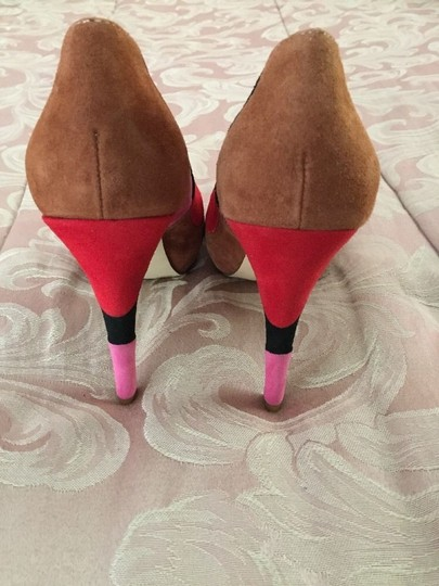 INC International Concepts Peep Toe Size 8 Color-blocking Multicolored Red Pink Black Brown Pumps