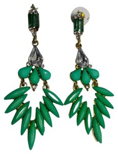Other Green & Gold Bib Style Earrings Long Chunky J2898