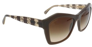 Chanel NEW CHANEL 5296 Brown Lace Stripe Cat Eye Sunglasses