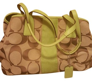 Coach Satchel in Beige and mint green