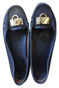 Tory Burch Loafers Gold Navy Blue Flats