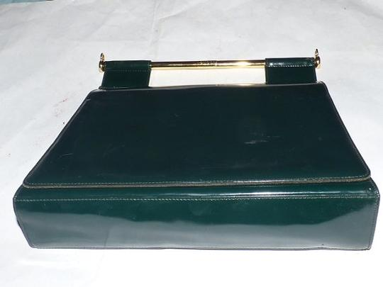 Gucci Equestrian Accents Extra Large Size Excellent Vintage Avant Garde Rare Early Satchel in green patent leather Image 1