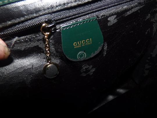 Gucci Equestrian Accents Extra Large Size Excellent Vintage Avant Garde Rare Early Satchel in green patent leather Image 3