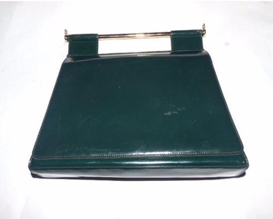 Gucci Equestrian Accents Extra Large Size Excellent Vintage Avant Garde Rare Early Satchel in green patent leather Image 4