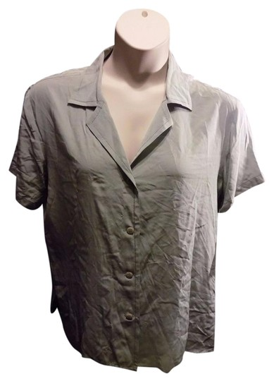 b0a43ec7027 60%OFF Carole Little Classic Blouse Button Down Short Sleeve Silk Career  Office Solid Tunic