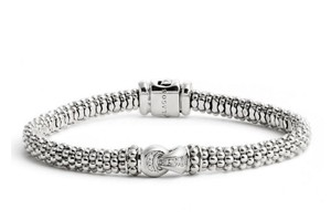 Lagos Lagos Sterling Silver Caviar Beaded Diamond Bracelet BRAND NEW