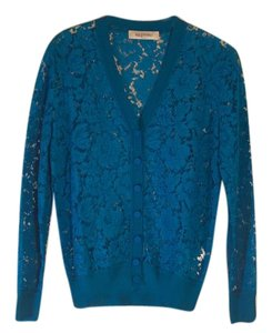 Valentino Lace Designer Button Down Shirt Blue