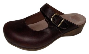 Dansko Current Martinia Mary Jane Buckle Clog Oiled Leather Brown Flats