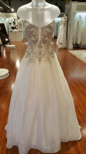 Sottero and Midgley Ivory/Pewter Accent Organza Avanti Traditional Wedding Dress Size 14 (L)