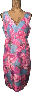 Garnet Hill short dress Rose Pink, French Blue, Lavender Floral 100% Silk Sheath Spring Colors on Tradesy