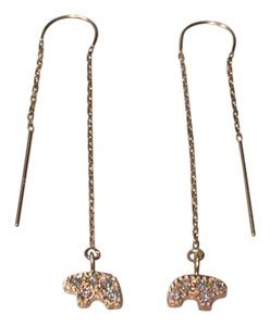 Golden Bear Pave Bear Thread Earrings