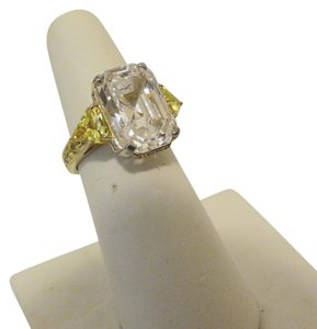 Jean Dousset Jean Dousset 13.62ctw Clear and Carnary Ring 8