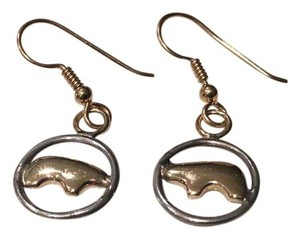 Golden Bear Two-Tone Bear Circle Earrings