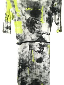 Topshop short dress Black, grey, white, lime abstract print on Tradesy