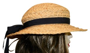 Helen Kaminski HELEN KAMINSKI RAFFIA STRAW SUN HAT WITH WIDE BRIM BLACK RIBBON BOW