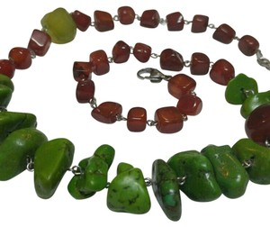 Free People Genuine Authentic Green Turquoise carnelian chalcedony necklace