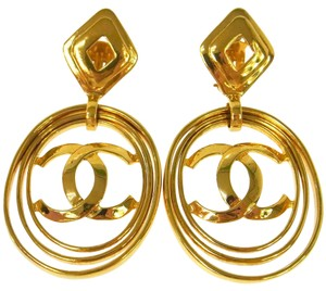 Chanel Chanel Gold CC Charm Logo Large Dangle HoopEarrings