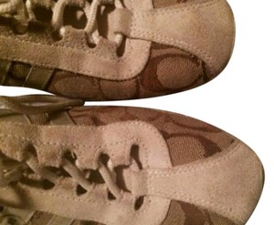 Coach Sneaker White suede and tan khaki Athletic