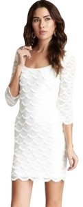 Guess Scalloped White Bodycon Lace Dress