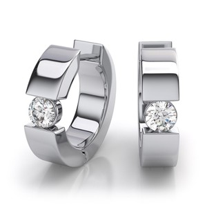 JewelryNest 14k Solid White Gold Round Diamond Huggie Earrings